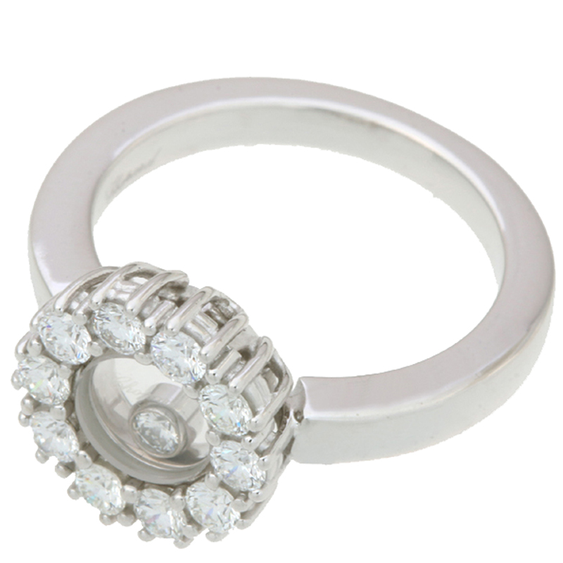 Chopard Happy Diamonds 18K White Gold Ring Size, Silver