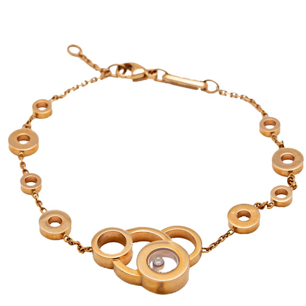 Chopard Happy Diamond Rose Gold Bubble Bracelet Size 19CM
