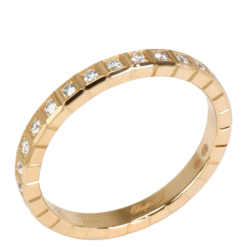 Chopard Ice Cube Diamond 0.31 CTW 18K Yellow Gold Eternity Ring Size 55