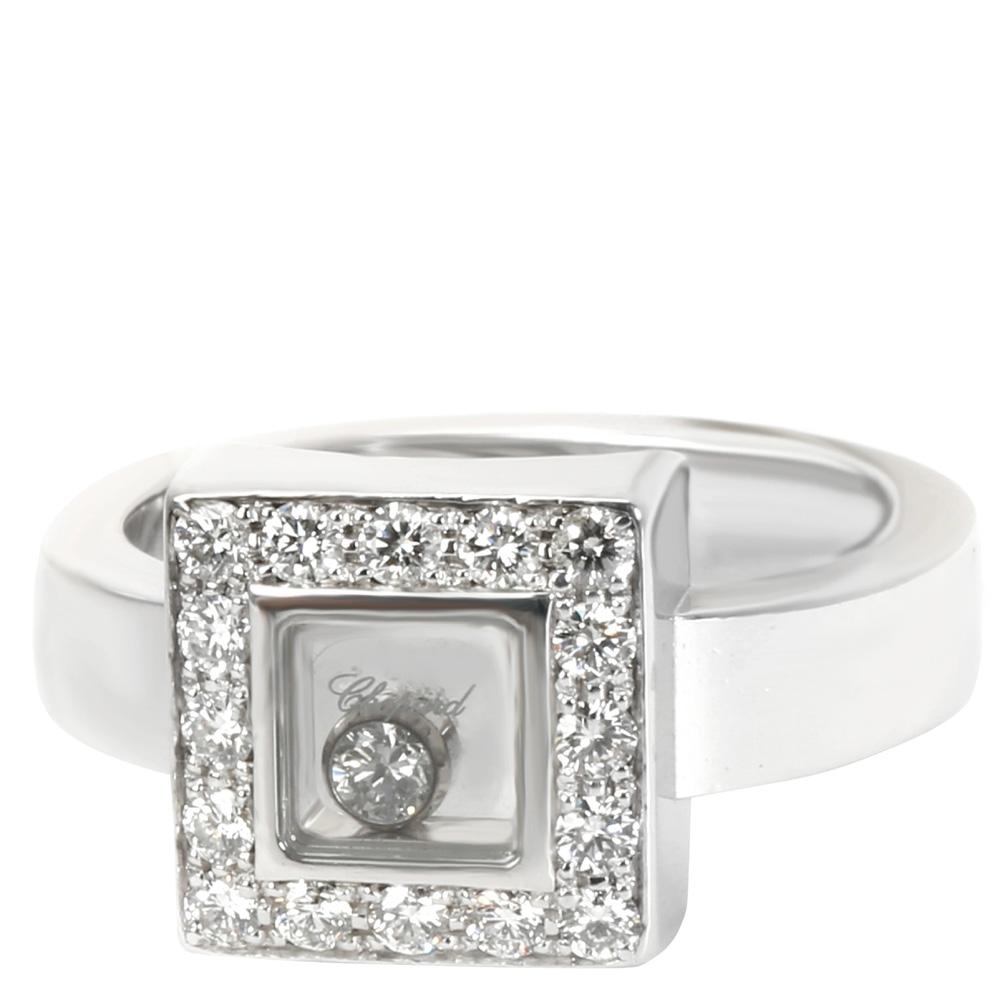 Chopard Square Happy Diamonds 0.38 CTW 18K White Gold Ring Size 51