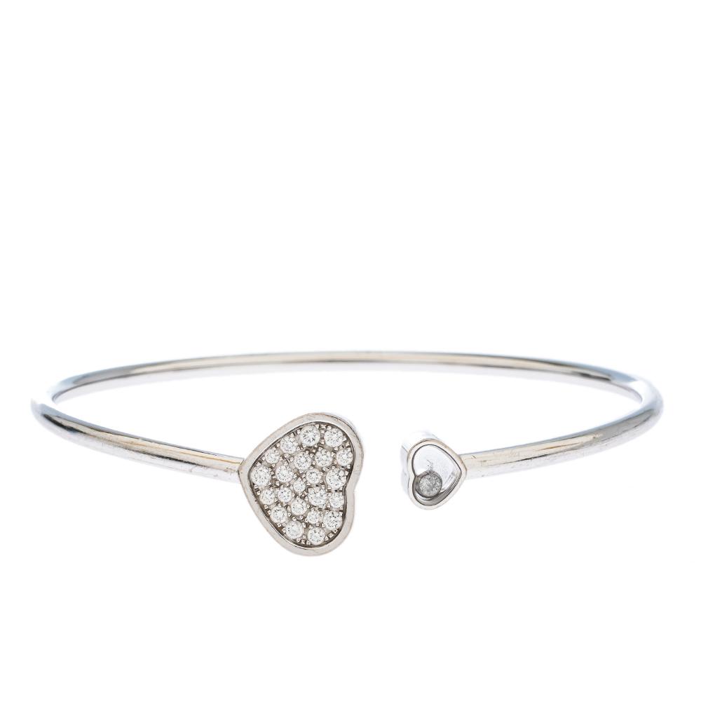 Chopard Happy Hearts Diamond 18K White Gold Open Bracelet