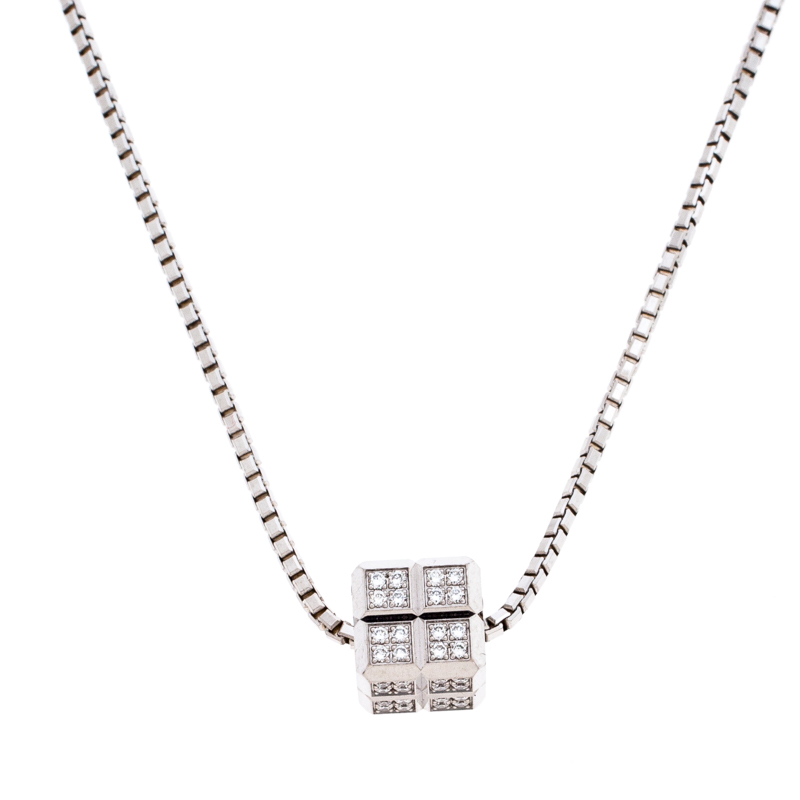 Chopard Diamond 18K White Gold Ice Cube Pendant Necklace