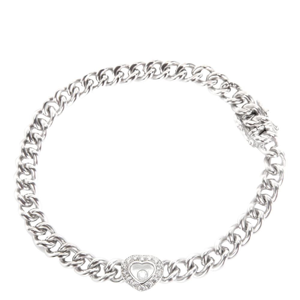 Chopard Happy Diamond Curb Chain 18K White Gold Diamond Heart Bracelet
