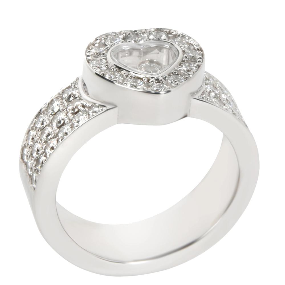 Chopard Happy Diamond 18K White Gold Diamond Ring Band Size 49