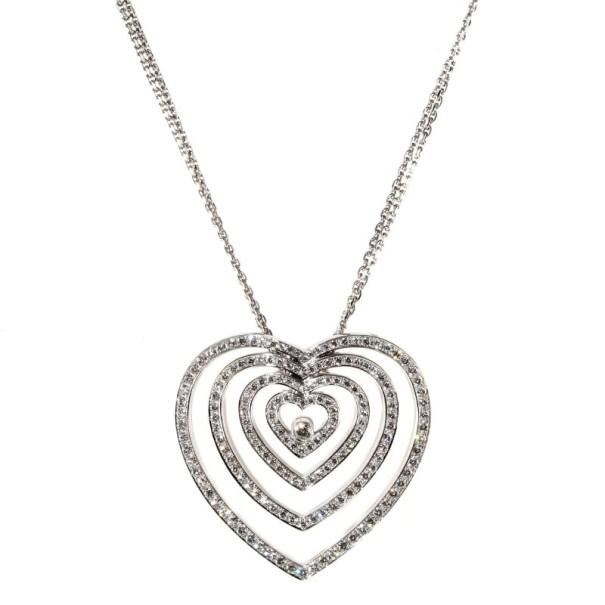 Chopard Diamond Heart 18 K White Gold Necklace