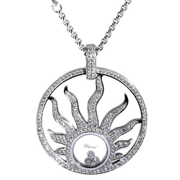 1cac76c7a45f3 Chopard Diamond 18 K White Gold Happy Diamonds Sun Pendant Necklace