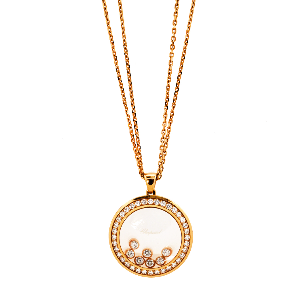 Chopard Happy Diamonds Happy Curves Diamond 18K Rose Gold Double Strand Pendant Necklace