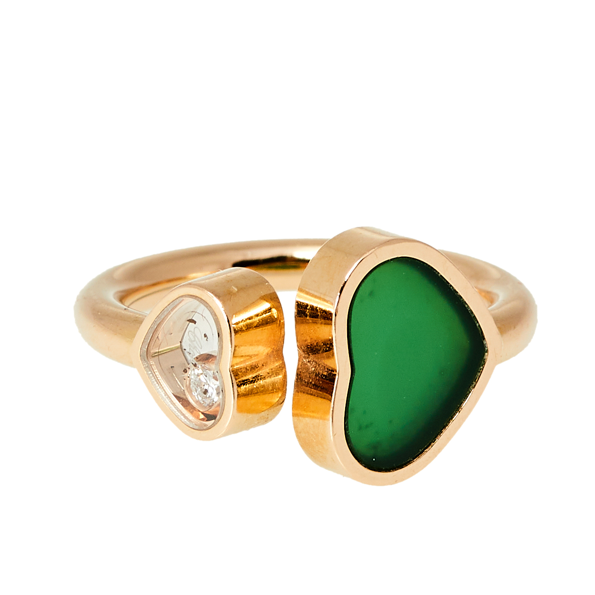 Chopard Happy Hearts Diamond Green Agate 18K Rose Gold Ring Size 48