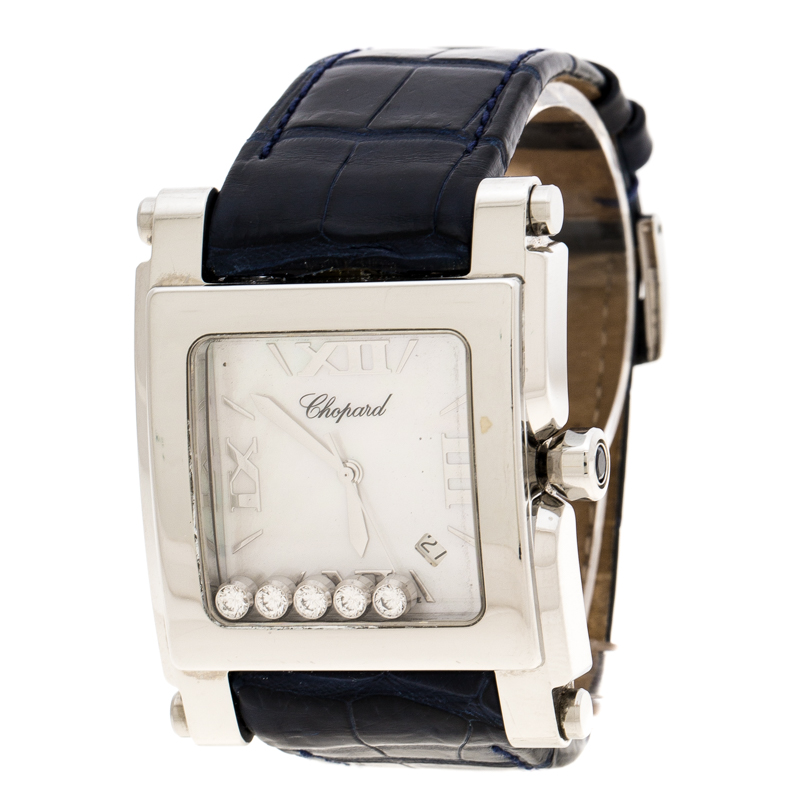 Chopard White Mother of Pearl Stainless Steel Diamonds Happy Sport II 28/8447 Women's Wristwatch 35 mm