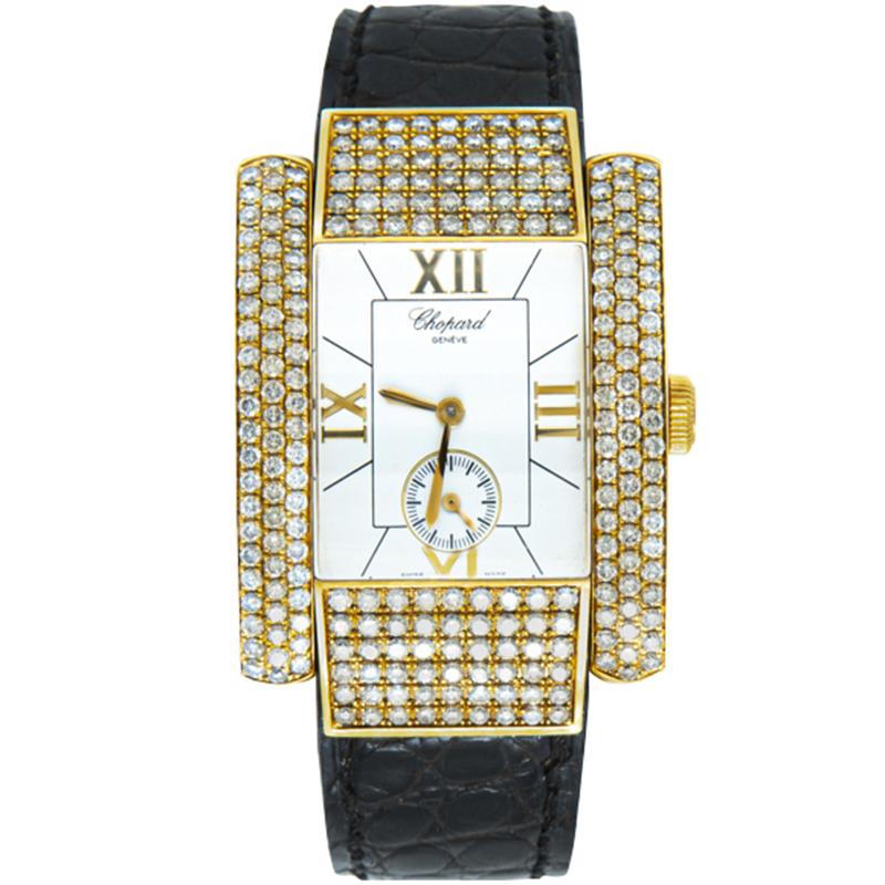 Chopard White Dial 18K Yellow Gold La Strada Diamond Women's Watch 46MM