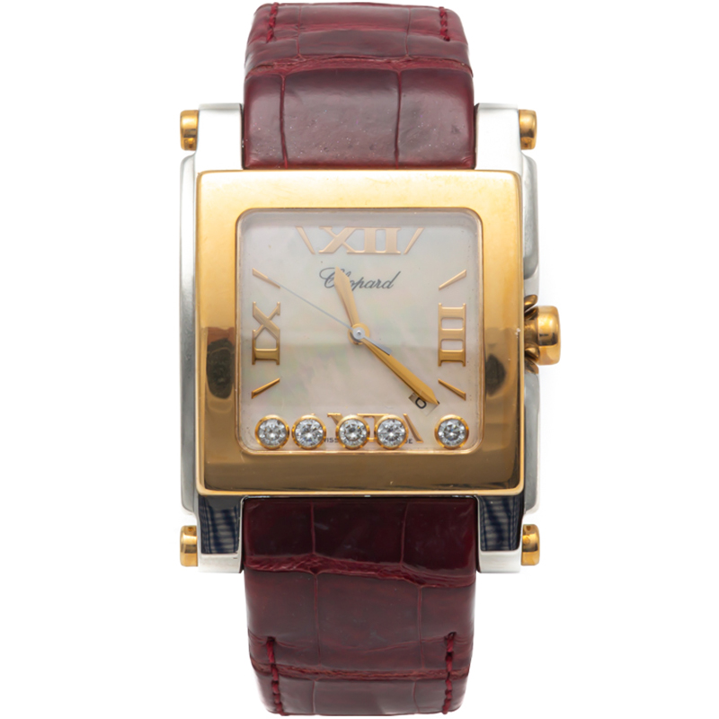 Chopard White Mother Of Pearl Happy Sport Steel & Yellow Gold Diamond Watch 36MM
