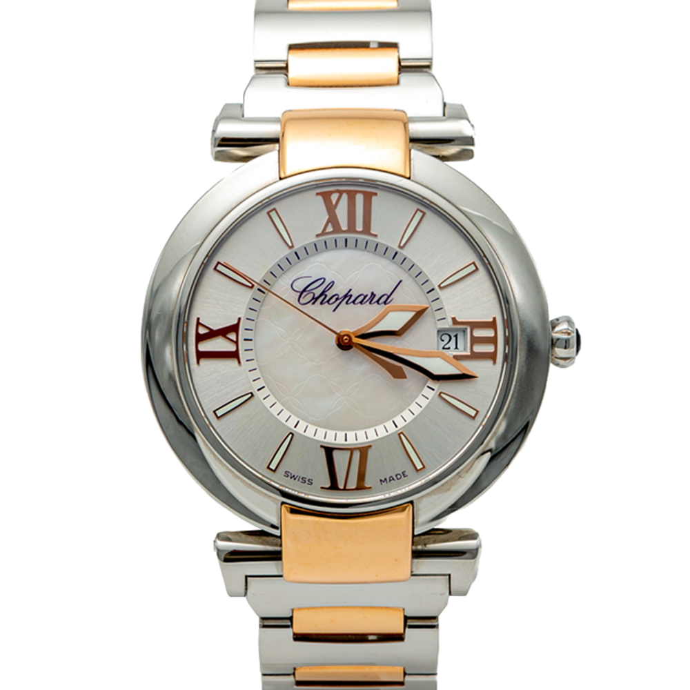 Chopard White Mother Of Pearl Imperiale Steel & Rose Gold Watch 40MM