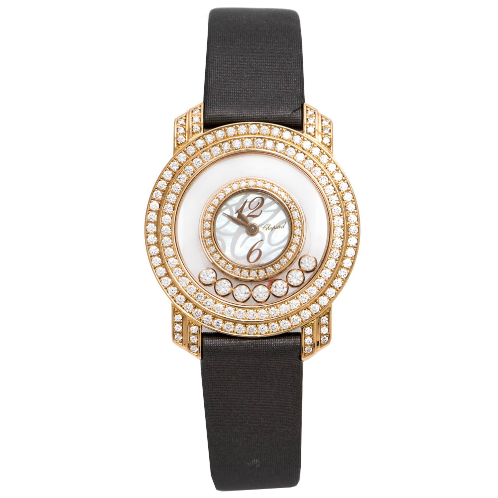 Chopard Mother Of Pearl 18K Rose Gold Happy Diamonds 4527 Women's Wristwatch 30 mm