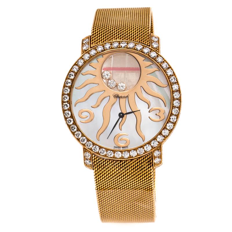 Chopard Mother Of Pearl Sun Motif 18K Rose Gold Happy Diamonds 4176 Women's Wristwatch 40 mm