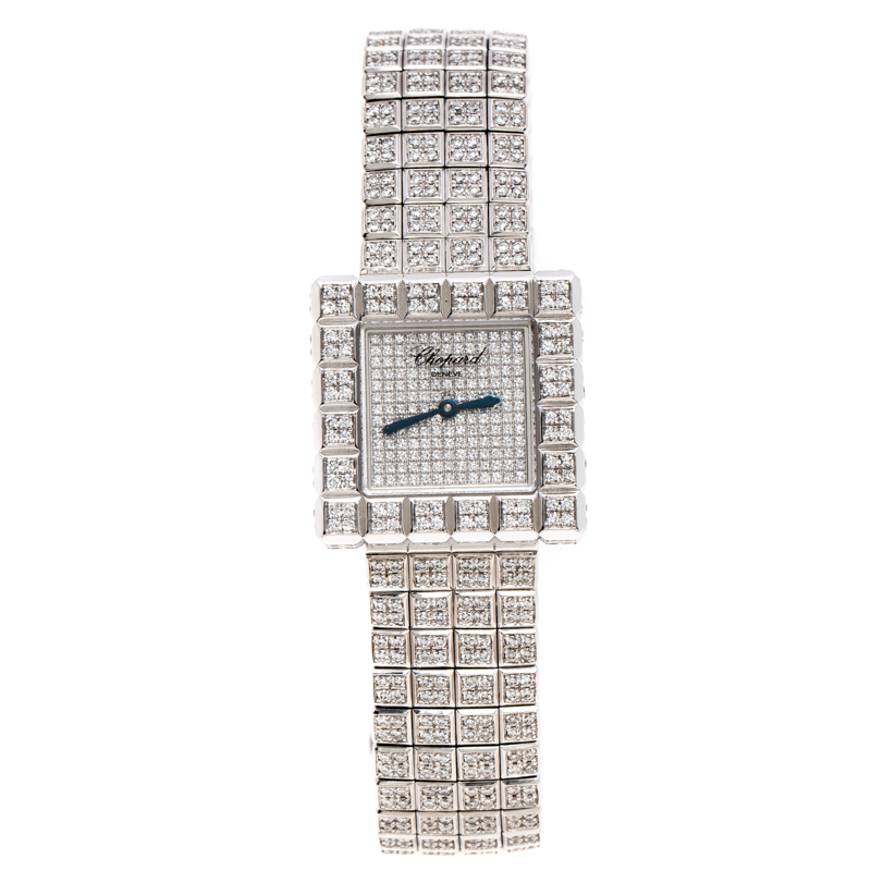 Chopard by De Grisogono 18K White Gold Diamonds Ice Cube Women's Wristwatch 25 mm