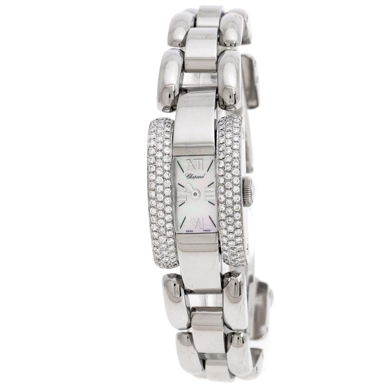 Chopard Mother of Pearl Stainless Steel Diamond La Strada 41/8444 Women's Wristwatch 18 MM
