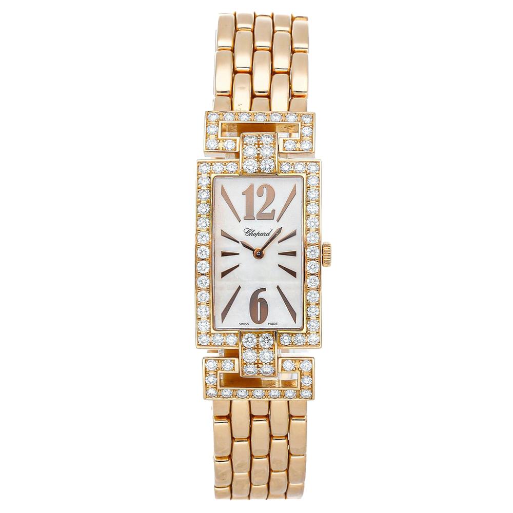 Chopard MOP Diamond 18K Rose Gold La Strada 109259-5001 Women's Wristwatch 30 x 20 MM