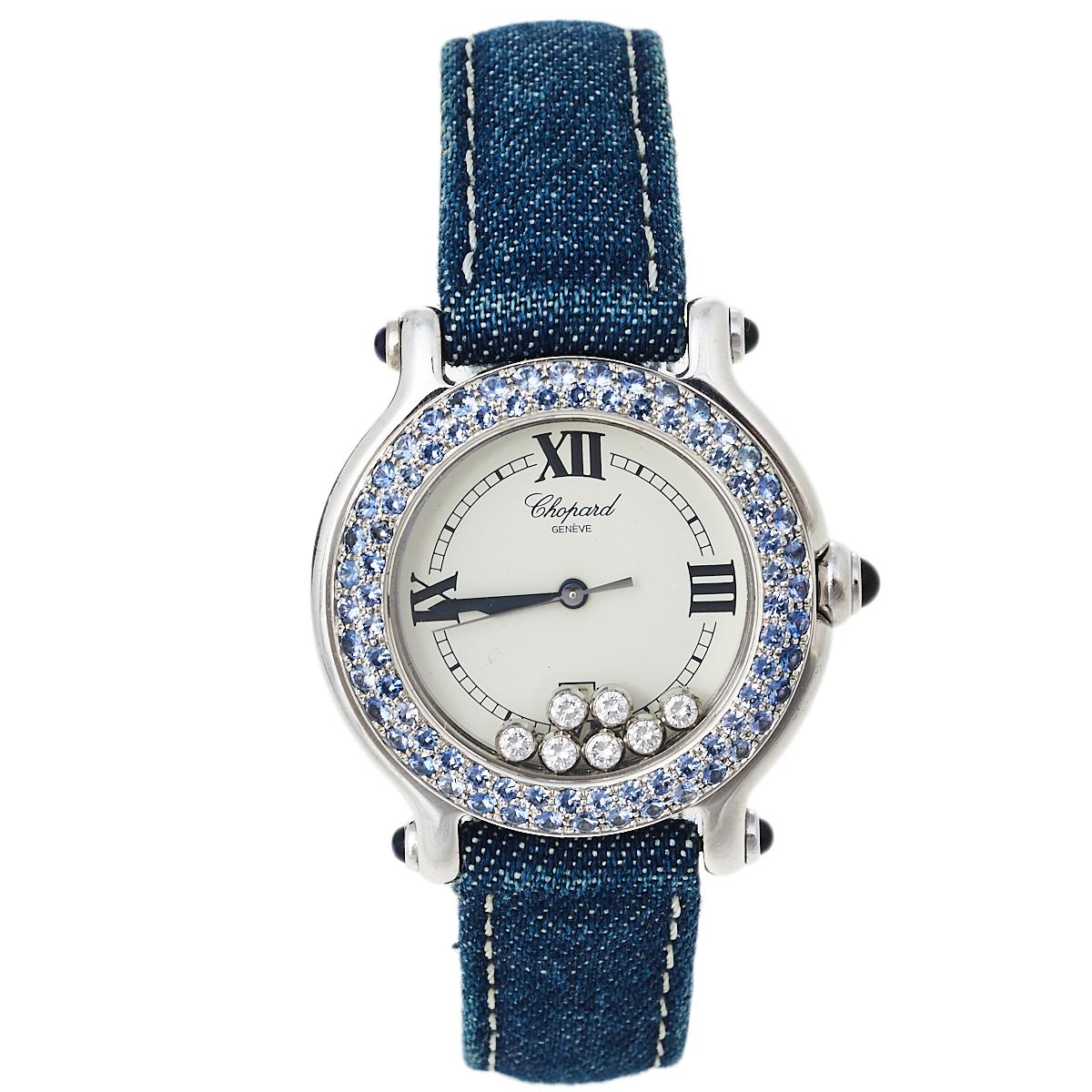 Pre-owned Chopard White 18k White Gold Sapphire & Diamond Happy Sport S27/6177-23 Women's Wristwatch 33 Mm