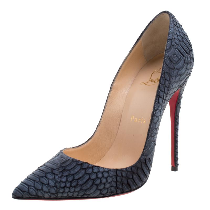 separation shoes 4943c d52a5 Christian Louboutin Ash Grey Python So Kate Pumps Size 36