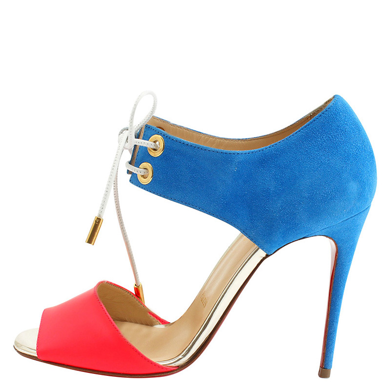 86677cb7535 Buy Christian Louboutin Tricolor Suede and Leather Mayerling Lace Up ...