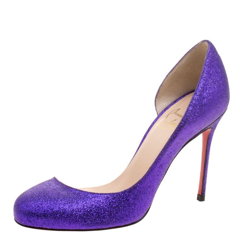 Buy Christian Louboutin Purple Glitter Helmour D orsay Pumps Size 35 ... 87a208099