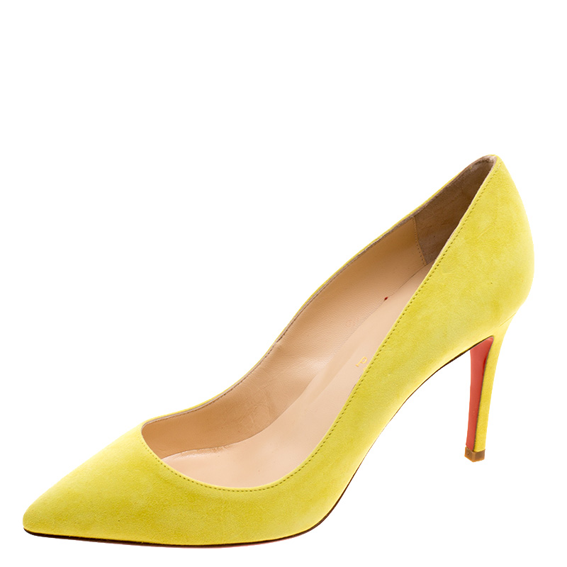 best service efbd9 2b548 Christian Louboutin Yellow Suede Pigalle Pumps Size 37.5
