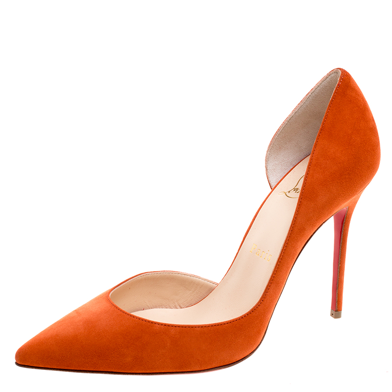 new products 65676 a5fa2 Christian Louboutin Orange Suede Iriza D'orsay Pumps Size 37.5