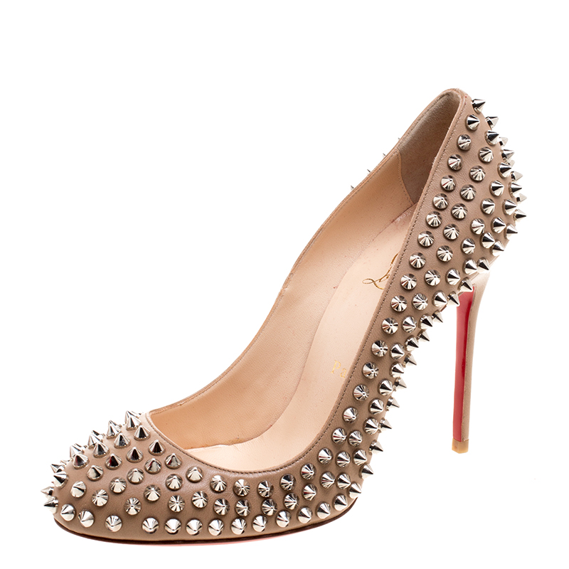 new arrival 23bc2 ede31 Christian Louboutin Beige Leather Fifi Spike Pumps Size 37.5