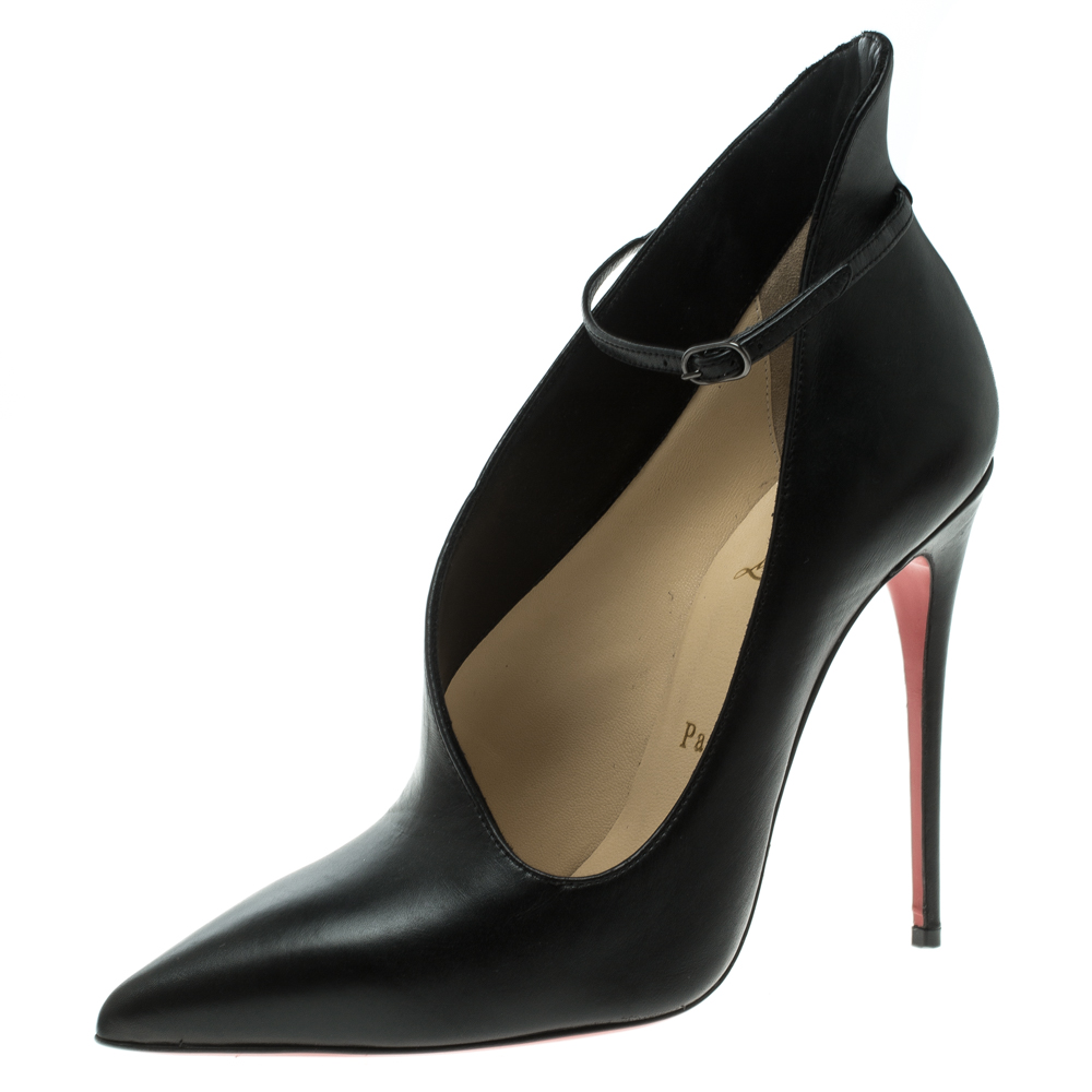 c48a191c74b Buy Christian Louboutin Black Leather Vampydoly Ankle Strap D orsay ...