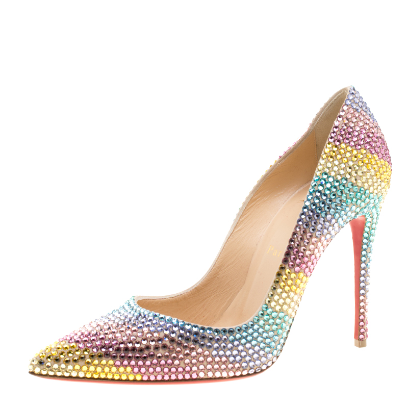 deca6e6f722a ... Christian Louboutin Multicolor Crystal Embelllished Suede Rainbow  Strass Pointed Toe Pumps Size 38. nextprev. prevnext
