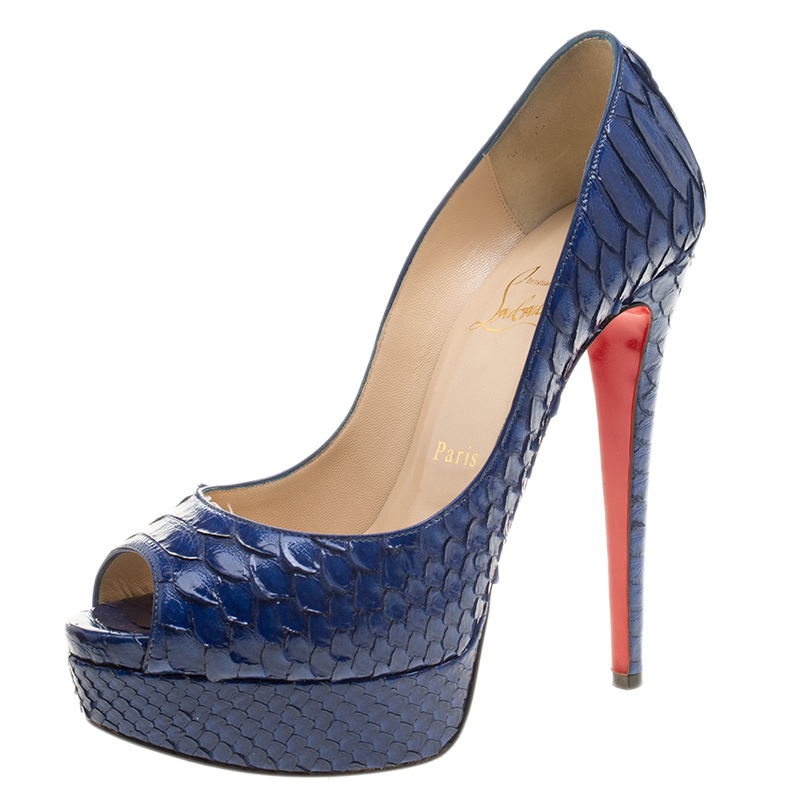 buy online 39cbf 07b40 Christian Louboutin Cobalt Blue Python Lady Peep Toe Platform Pumps Size 37