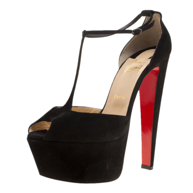 premium selection 51f6f 24a0a Christian Louboutin Black Suede T-strap Peep Toe Platform Sandals Size 40.5