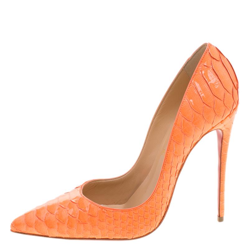 Christian Louboutin Florescent Orange Python Leather So Kate Pointed Toe Pumps Size 39