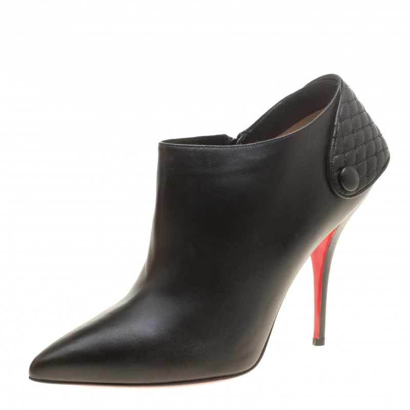 online retailer d94a8 f2dd8 Christian Louboutin Black Leather Huguette Pointed Toe Ankle Booties Size 41