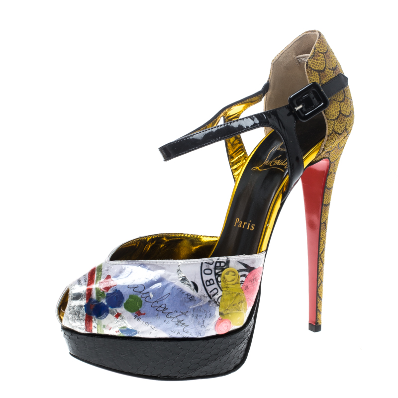 4c496cdb500 Christian Louboutin Multicolor PVC No. 299 Trash Platform Ankle Straps  Pumps Size 39.5