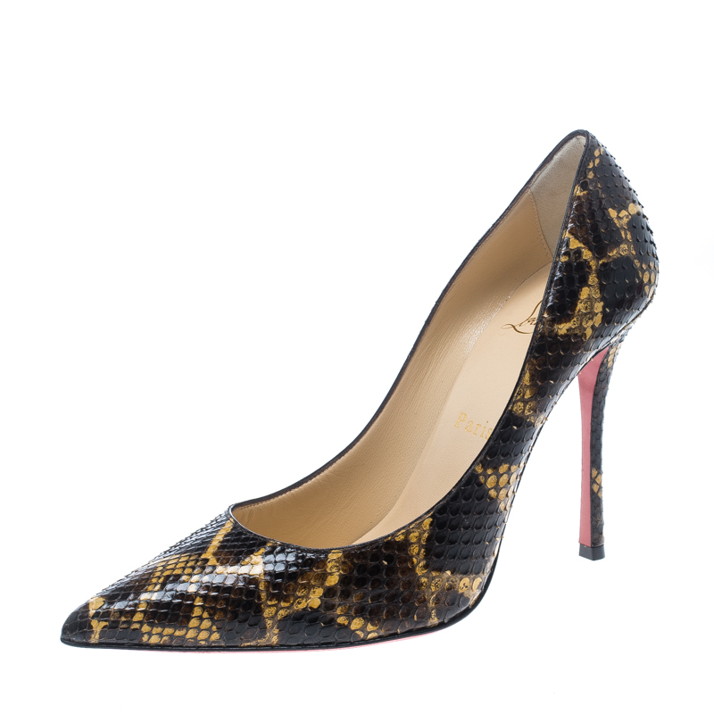 9e687264261b Buy Christian Louboutin Brown Yellow Python Leather So Kate Pointed ...