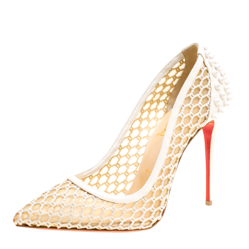5a361e7501d Buy Christian Louboutin Off White Mesh and Spike Embellished Patent ...