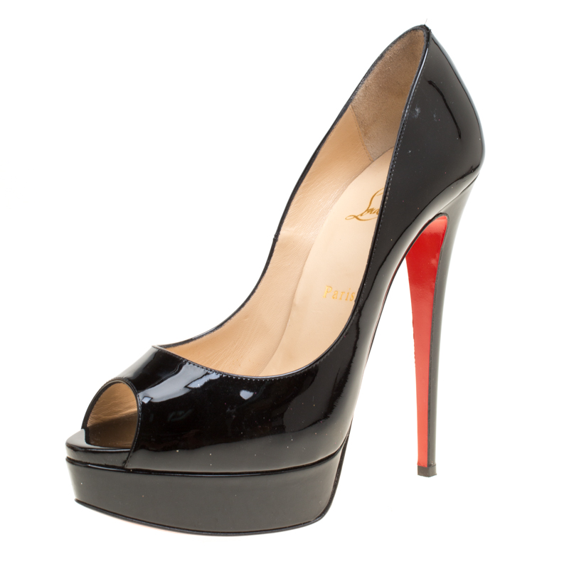 ae530457161a ... Christian Louboutin Black Patent Leather Lady Peep Toe Platform Pumps  Size 40. nextprev. prevnext