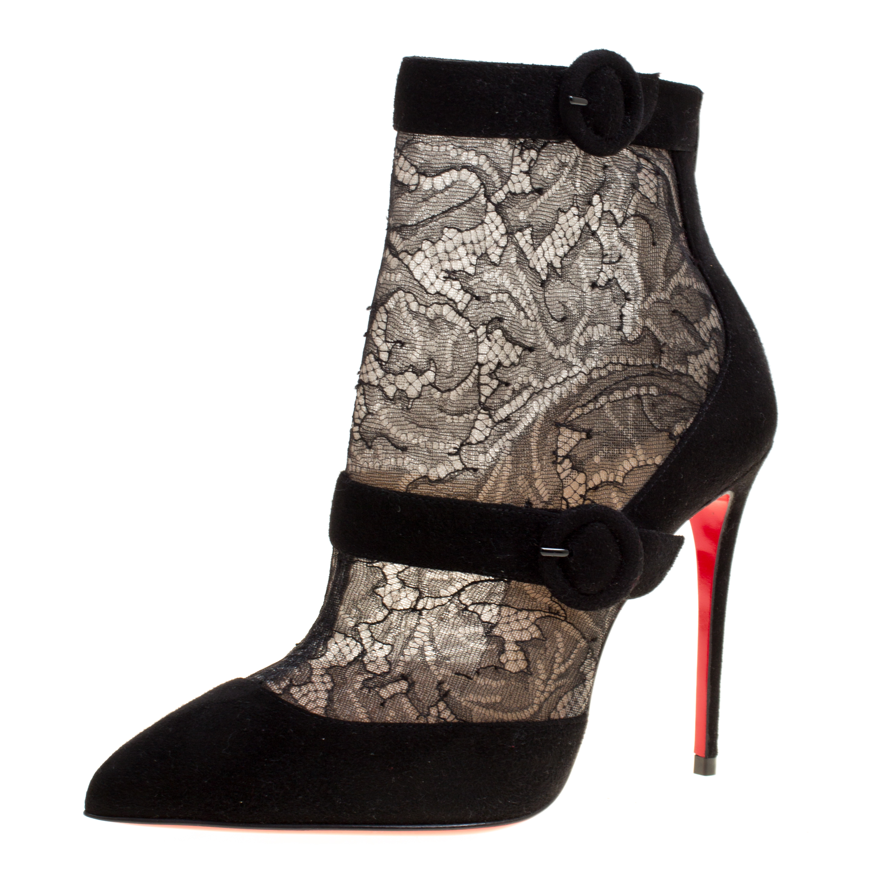 3bbc4d919ee ... Christian Louboutin Black Lace and Suede Boteboot Pointed Toe Ankle  Booties Size 36. nextprev. prevnext