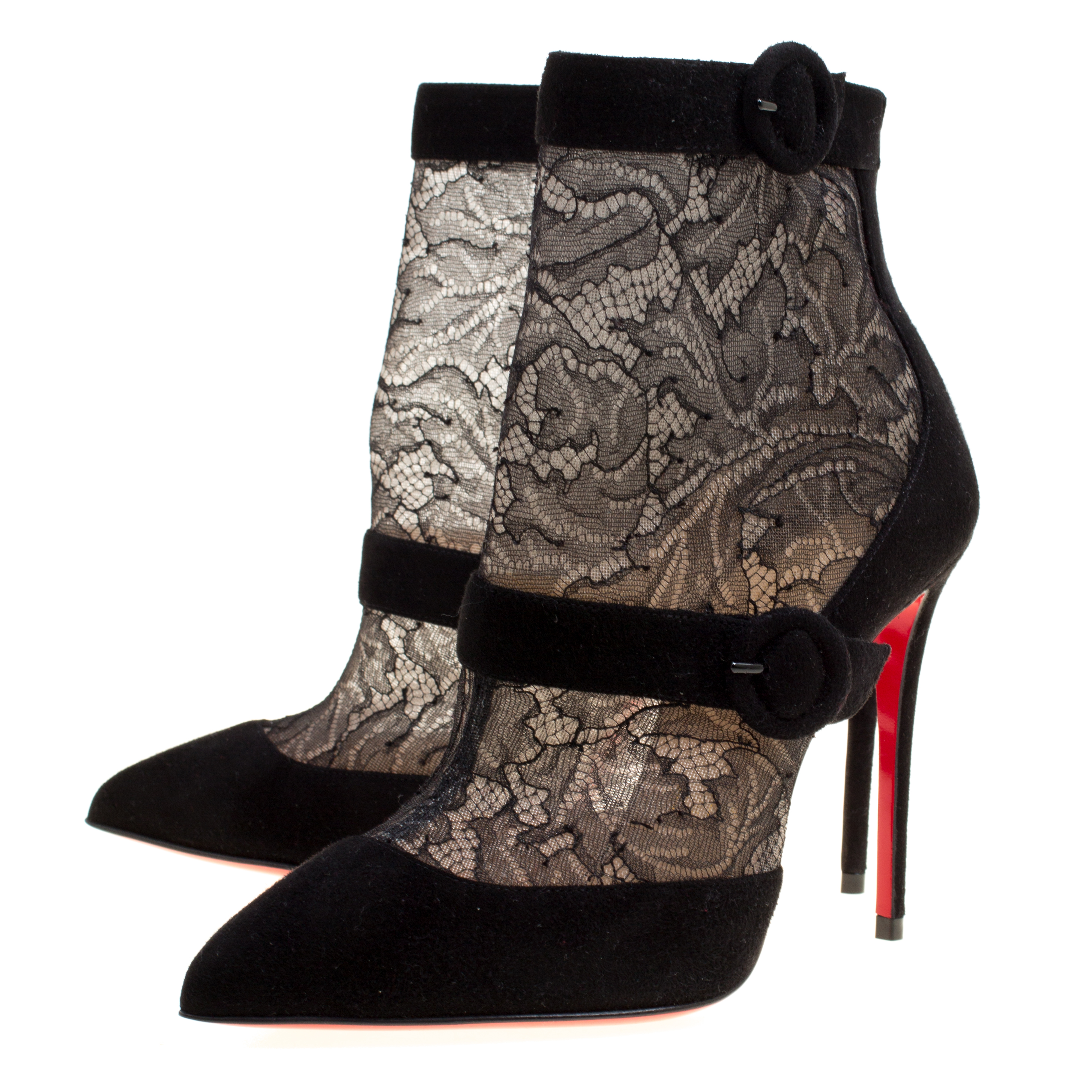 new styles 83189 8fb33 Christian Louboutin Black Lace and Suede Boteboot Pointed Toe Ankle Booties  Size 36