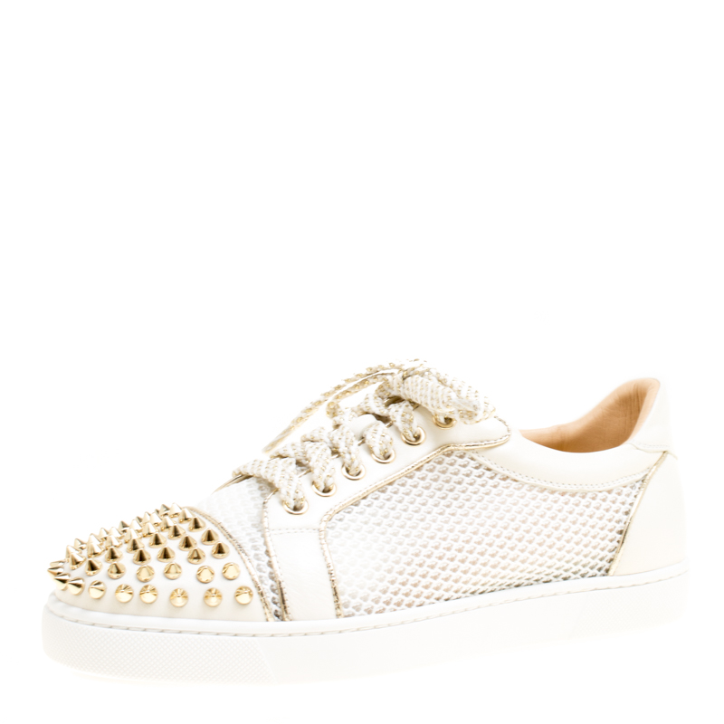 ... Christian Louboutin White Mesh fabric and Leather AC Viera Spiked  Orlato Low Top Sneakers 38. nextprev. prevnext d9ddfedfde