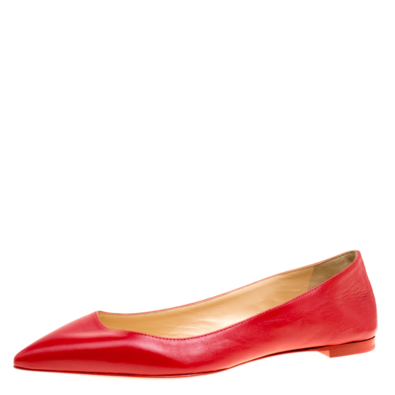 de5b2bb3692c ... Christian Louboutin Red Leather Ballalla Pointed Toe Flats Size 36.  nextprev. prevnext