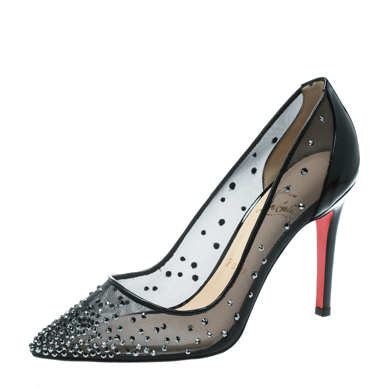 save off 28457 593b2 Christian Louboutin Black Crystal Embellished Mesh Follies Strass Pointed  Toe Pumps Size 37