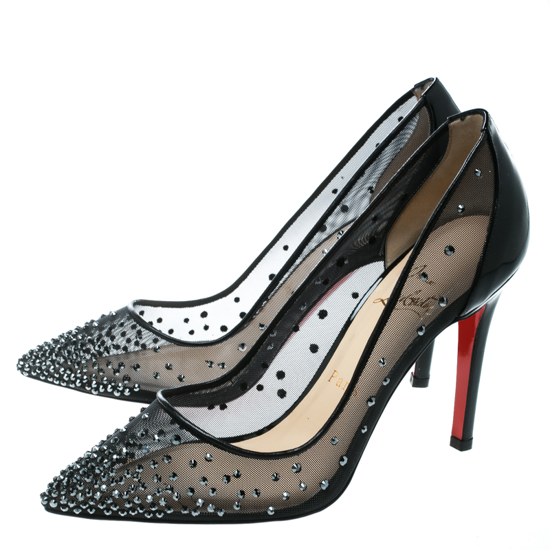 save off 4daf2 49445 Christian Louboutin Black Crystal Embellished Mesh Follies Strass Pointed  Toe Pumps Size 37