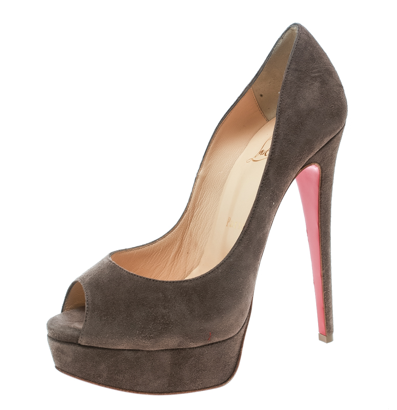 Christian Louboutin Brown Suede Lady Peep Toe Platform Pumps Size 36