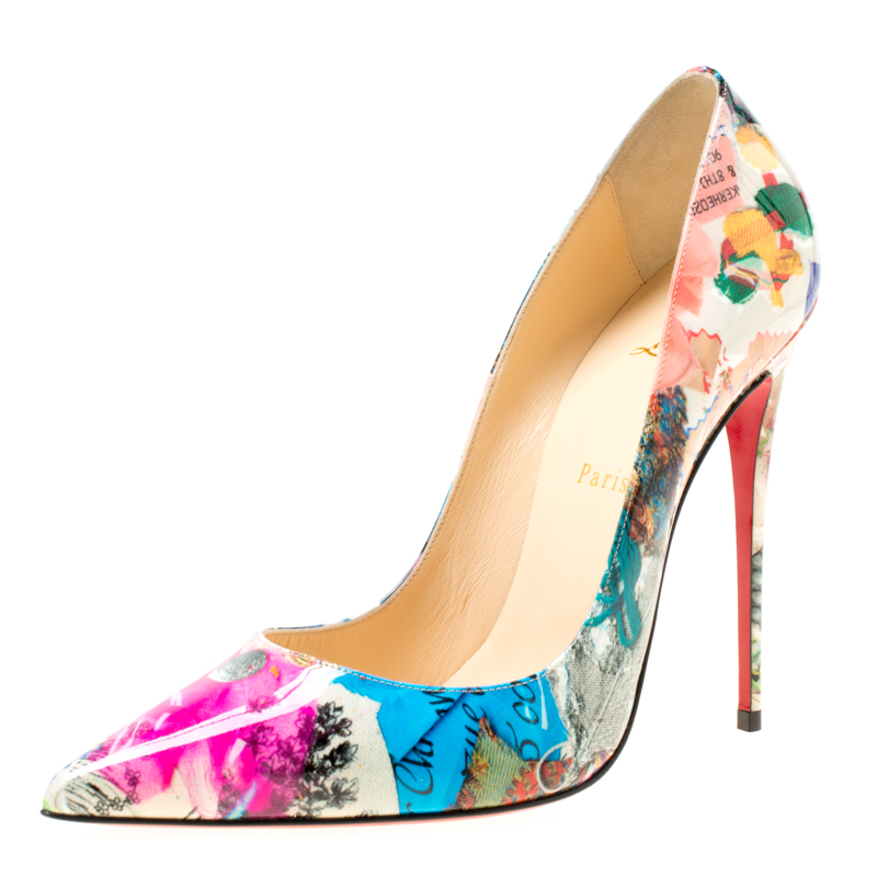 715f4a6db0c Christian Louboutin White Multicolor Patent Leather So Kate Pumps Size 40
