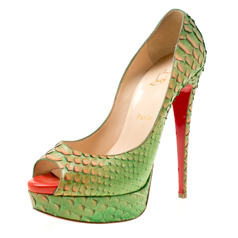 46a26d57ef3e ... Christian Louboutin Two Tone Python Leather Troca Altareva Lady Peep  Toe Platform Pumps Size 40. nextprev. prevnext