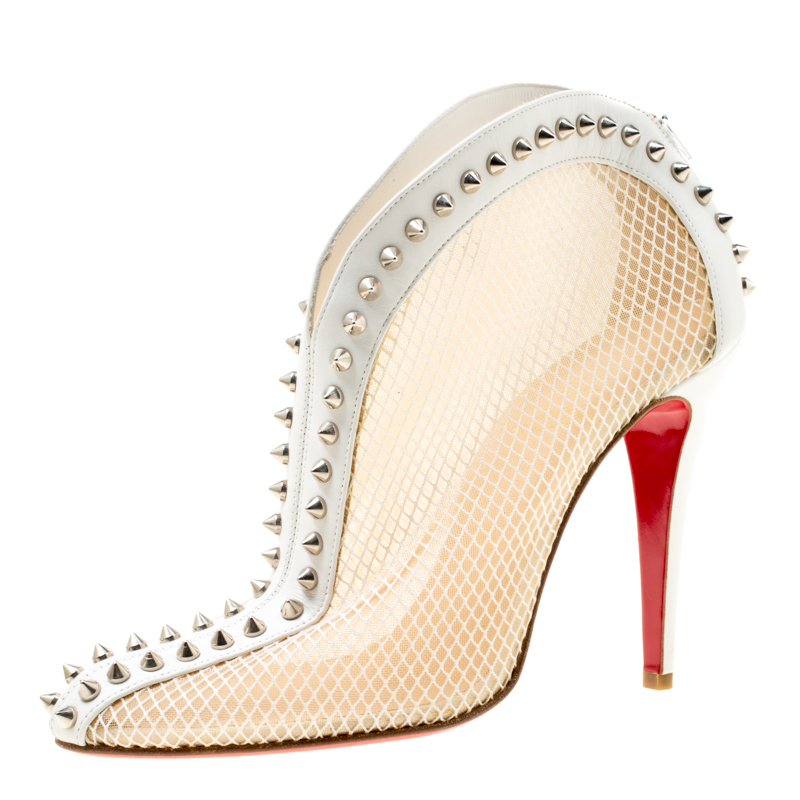 separation shoes d1c45 497a8 Christian Louboutin White Mesh And Leather Bourriche Spike Studded Booties  Size 40