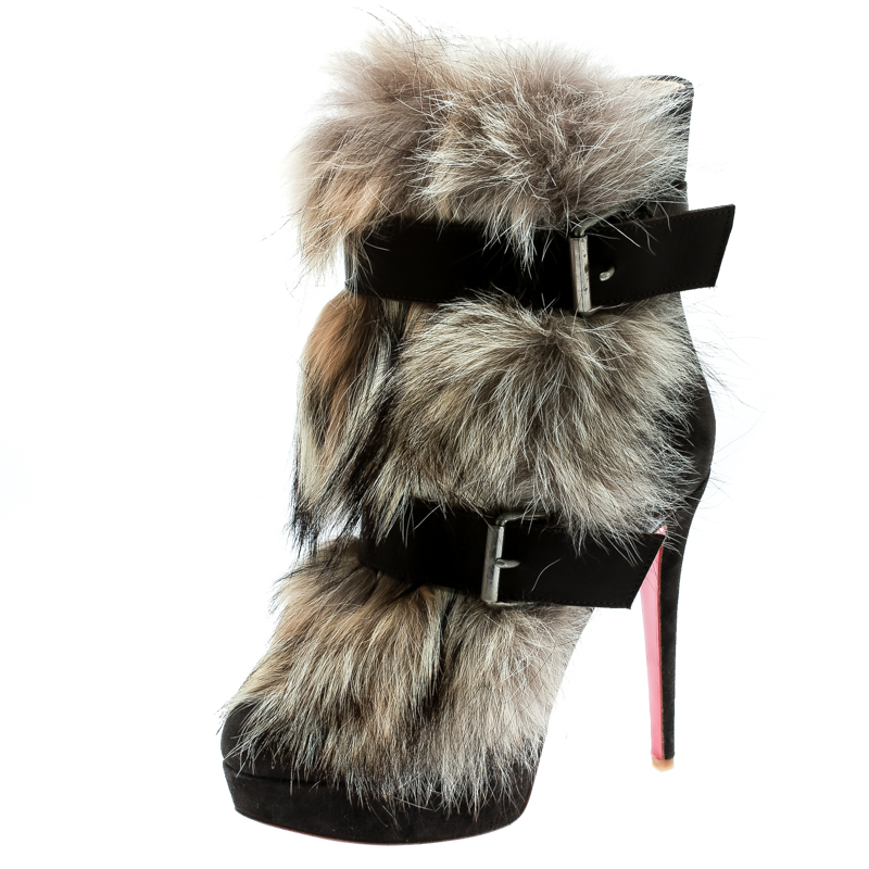 buy popular 2dca2 39943 Christian Louboutin Brown Suede Toundra Coyote Fur Trimmed Platfrom Ankle  Boots Size 39.5