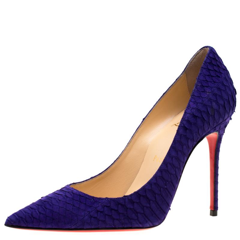 quality design 0167d 24efd Christian Louboutin Purple Nubuck Python So Kate Pointed Toe Pumps Size 37